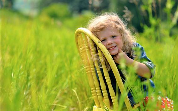 Wallpaper Cute little girl, chair, grass
