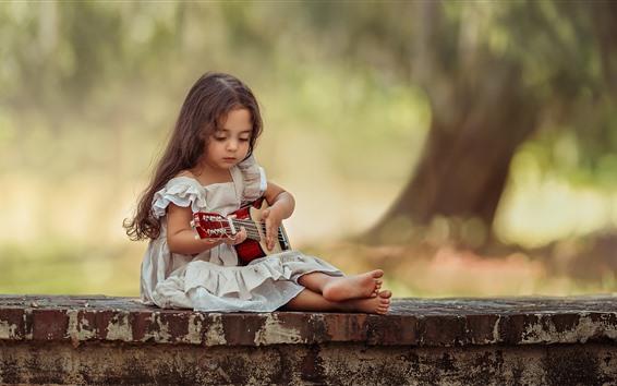 Wallpaper Cute little girl, guitar, child