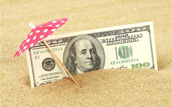 Wallpaper Dollar, sand, umbrella