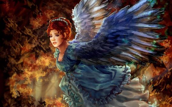 Обои Фантазия девушка, рыжие волосы, крылья, живопись искусства