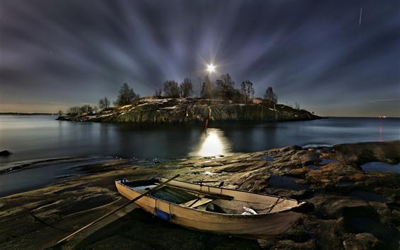 Wallpaper Finland, Helsinki, boat, island, trees, river, night