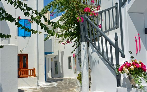 Обои Греция, цветы, лестница, дом, солнечный свет