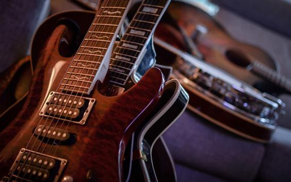 Papéis de Parede Fotografia macro de guitarra, música