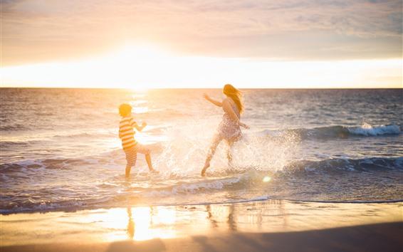 Wallpaper Happy girl and boy play water, sea, beach, water splash, summer
