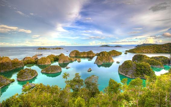 Fondos de pantalla Indonesia, Papua Occidental, Yates, Mar, Islas