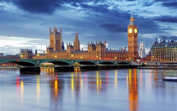 Wallpaper London, England, Big Ben, river, bridge, dusk, lights