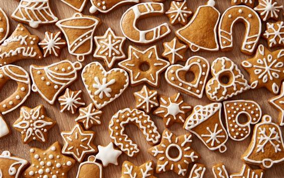 Обои Многие рождественские печенья, любовное сердце, снежинка, колокол