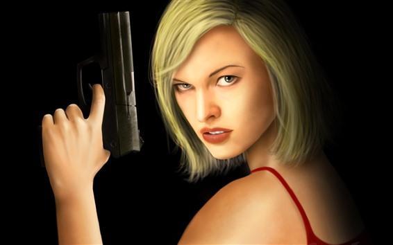 Fondos de pantalla Milla Jovovich, Resident Evil, Chica de pelo corto, Pistola, IMAGEN DE ARTE