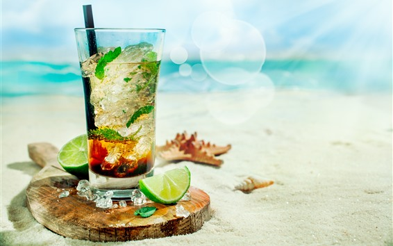 Обои Мохито, коктейль, лайм, пляж, солнечный свет, море