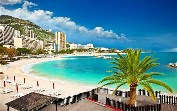 Fondos de pantalla Mónaco, Palma, Montañas, Playa, Mar, Edificios
