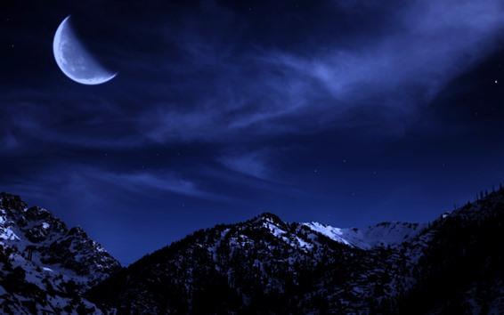 Wallpaper Moon, mountains, snow, night, sky, stars