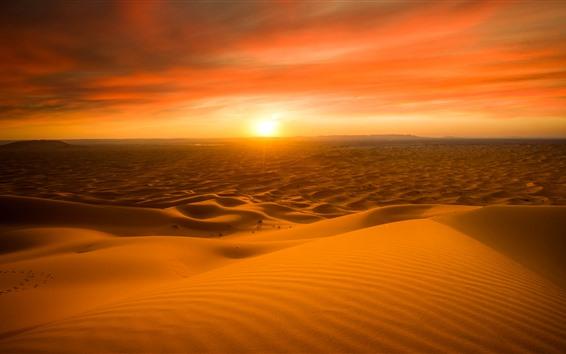 Fondos de pantalla Marruecos, Desierto, Atardecer, Cielo Rojo