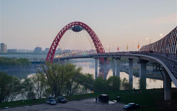 Fondos de pantalla Moscú, Puente, Río, Ciudad, Dusk
