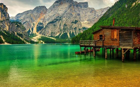 Wallpaper Mountains, trees, lake, pier, Italy