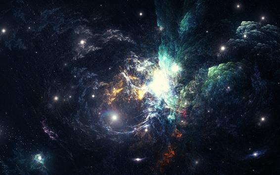 Fond d'écran Nébuleuse, espace, galaxie, étoiles, lumineux