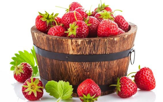Wallpaper One bucket of strawberries, fruit, white background