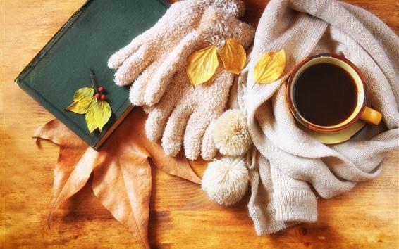 Fondos de pantalla Una taza de café, libro, bufanda, hojas de arce, naturaleza muerta