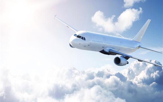 Обои Пассажирский самолет, небо, облака, солнечные лучи