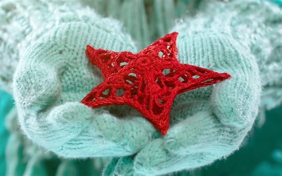 Papéis de Parede Estrela vermelha, mitenes, inverno, mãos