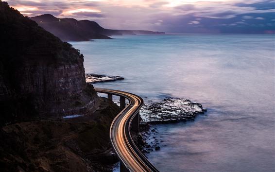 Обои Море, побережье, дорога, легкие линии, природа пейзаж