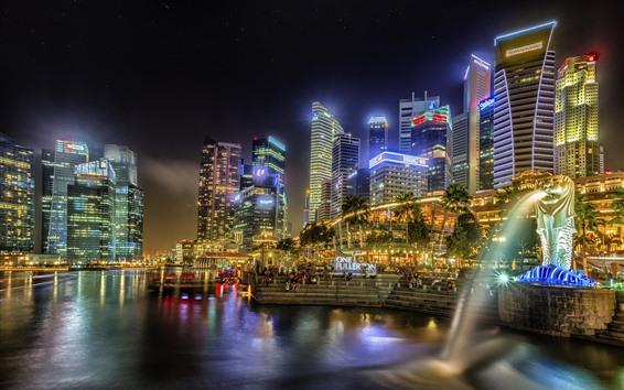 Wallpaper Singapore, city, night, lights, skyscrapers, fountain, lake