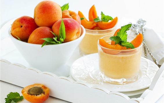 Обои Некоторые абрикосы, чаша, десерт, фрукты