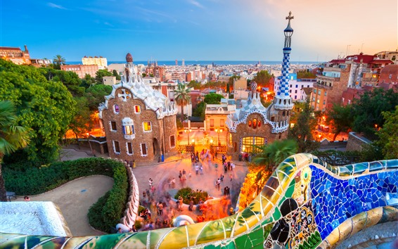 壁紙 スペイン、バルセロナ、ライト、海、夕方、市、住宅