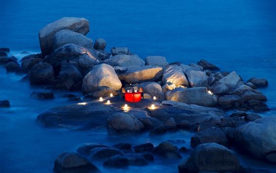 Wallpaper Stones, sea, coast, table, candle, dinner, romantic