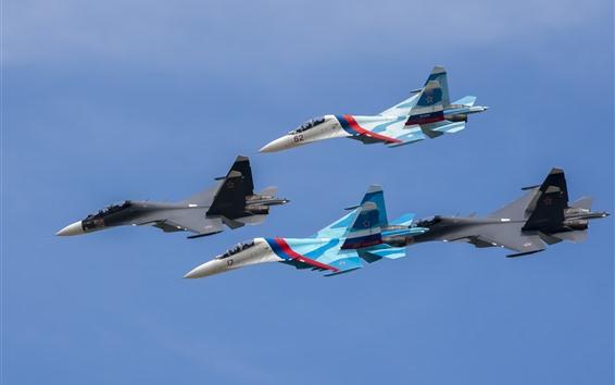 Обои SU-27 бойцов, четыре самолета, рейс, небо