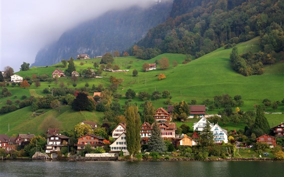 Wallpaper Switzerland, Lucerne, mountains, trees, houses, lake