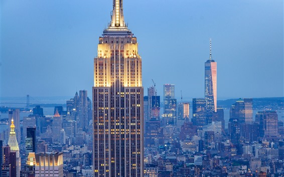 Papéis de Parede O Empire State Building, luzes, Nova York, EUA