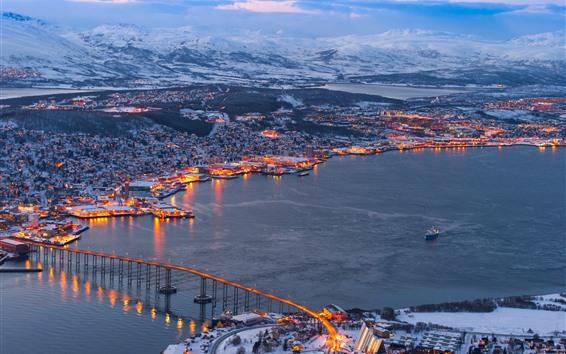 Wallpaper Tromso, Norway, winter, sea, bridge, snow, lights, dusk, city