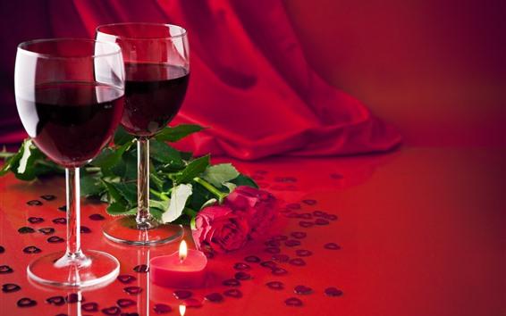 배경 화면 와인, 빨간 장미, 사랑 하트, 발렌타인 데이의 두 컵