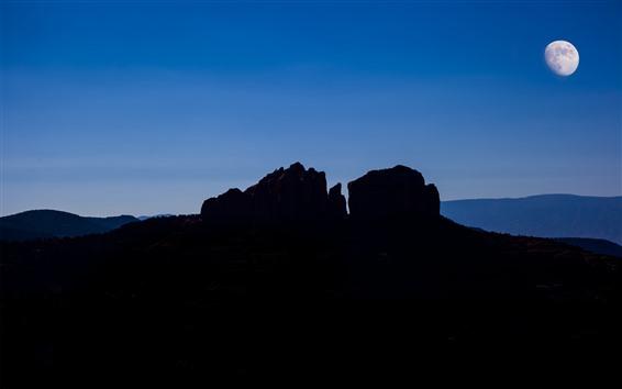 Обои США, Аризона, Седона, каньон, горы, рок, луна, ночь