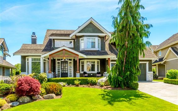 壁紙 ヴィラ、家、木、牧草地、青い空