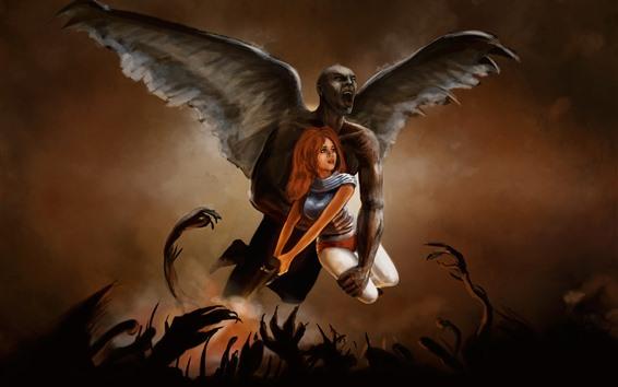 Wallpaper Wings, demon, girl, art picture