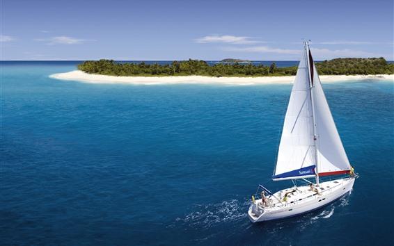 Wallpaper Yacht, island, beach, palm trees, tropical