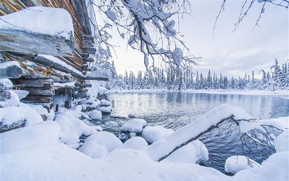 Hintergrundbilder Akaslompolo, Finnland, dicker Schnee, Bäume, See, Winter