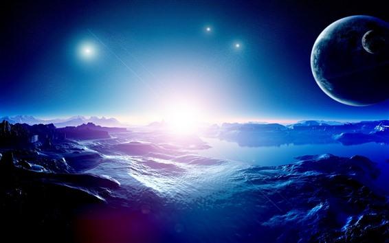 Обои Красивое пространство, планеты, звезды, вода, озеро, творческий дизайн картины