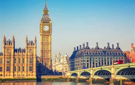 Fondos de pantalla Ciudad, Londres, Big Ben, Puente, Río, Inglaterra