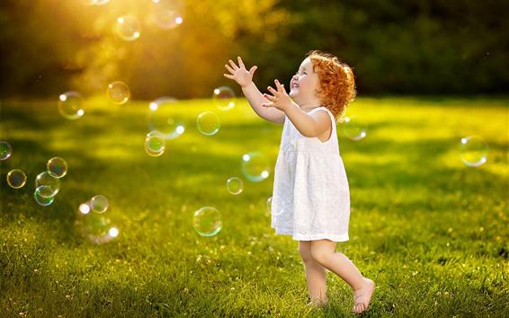 Wallpaper Cute child, little girl, play bubbles, grass