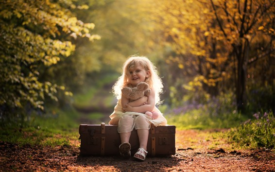 Wallpaper Cute little girl, smile, child, suitcase, teddy bear, autumn