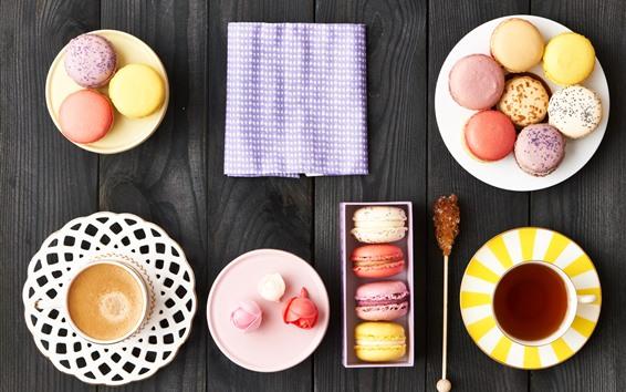 Обои Вкусная еда, макарон, красочный, кофе, чай, десерт