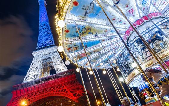 Fondos de pantalla Torre Eiffel, Francia, París, carrusel, noche, luces