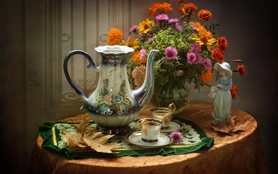 Wallpaper Flowers, bouquet, teapot, cups, tea, still life, statue