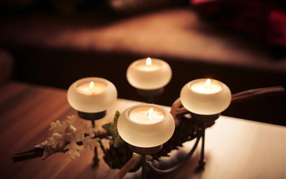 배경 화면 네 개의 촛불, 불꽃, 정물, 흐릿한