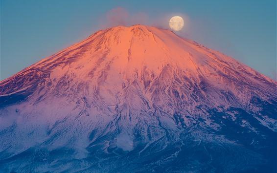 배경 화면 후지산, 화산, 눈, 달, 일본