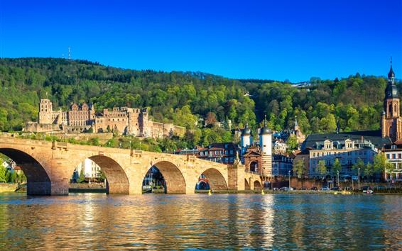 Fondos de pantalla Alemania, Heidelberg, Río, Puente, Ciudad, Casas