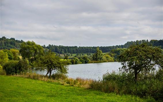 Wallpaper Germany, lake, trees, grass, green, nature scenery
