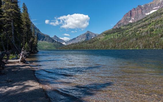 Обои Национальный парк ледника, озеро, горы, небо, облака, США